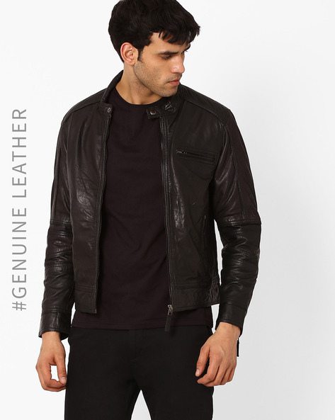 Leather Biker Jacket With Zipper By TEAKWOOD LEATHERS ( Black )