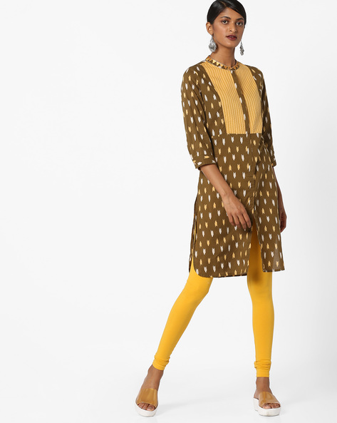 Printed Straight Kurta With Embroidered Collar By AJIO ( Olive )