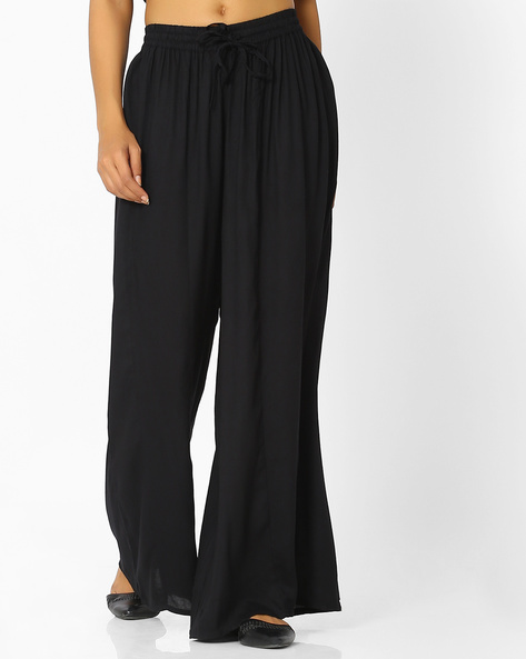 Panelled Palazzos With Drawstring Waist By Indian Ink ( Black )