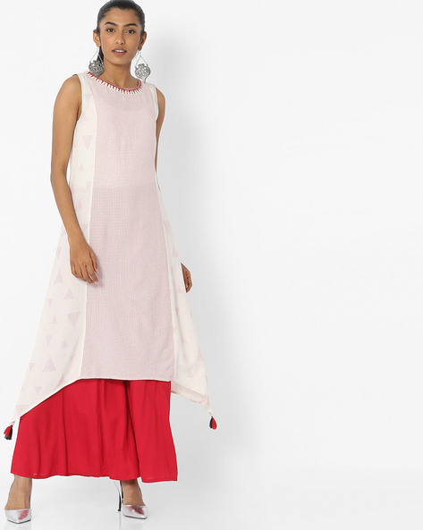 Sleeveless A-line Kurta With Embroidered Neckline By AVAASA MIX N' MATCH ( Offwhite )