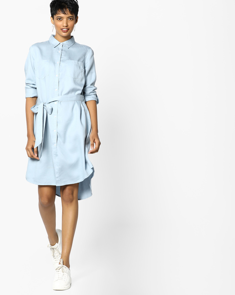 Shirt Dress With Waist Tie-Up By Project Eve WW Casual ( Ltblue )