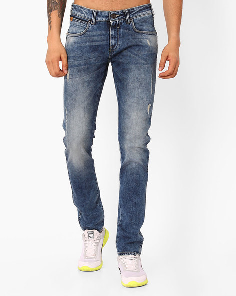 Distressed Skinny Jeans By WRANGLER ( Blue )