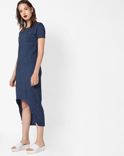 High-Low Cotton Dress By Evah London ( Blue )