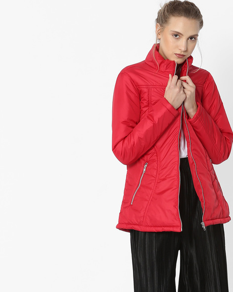 Quilted Bomber Jacket By Teamspirit ( Red )