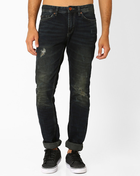 Straight Fit Distressed Jeans By Celio ( Dkblue )