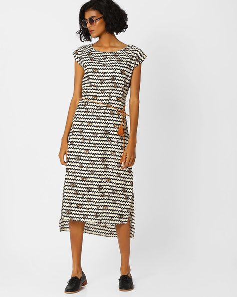 High-Low Midi Dress By AJIO ( Black )