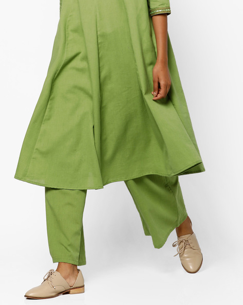 Palazzo Pants With Scoop Pockets By AJIO ( Olive )