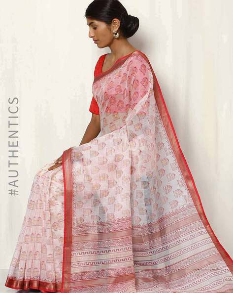 Hand Block Print Maheshwari Saree By Indie Picks ( White ) - 460017079001
