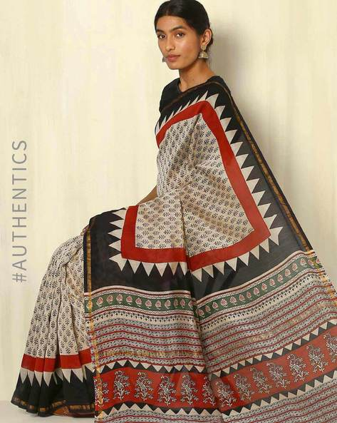 Bagru Handblock Print Chanderi Saree With Zari Border By Indie Picks ( Multi ) - 460053755001