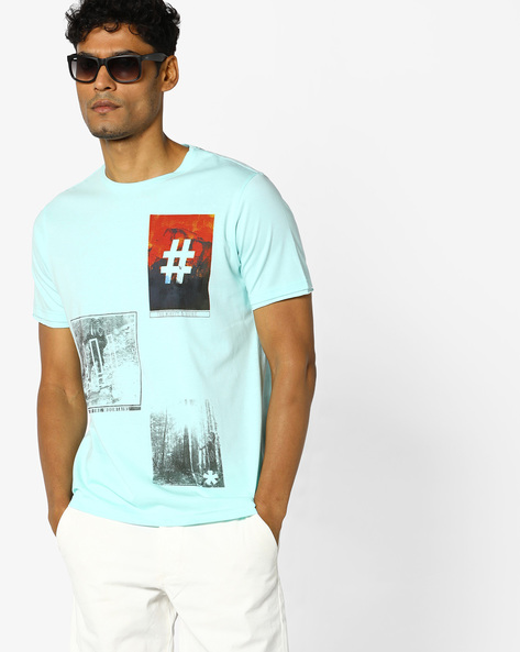 Graphic Print Crew-Neck T-shirt By AJIO ( Lightblue )