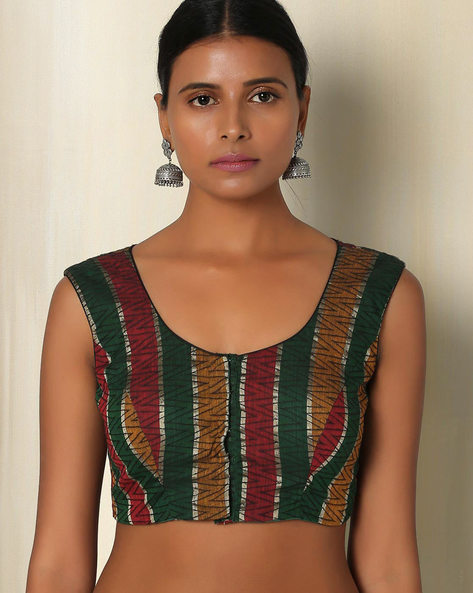 Cotton Handloom Sleeveless Blouse By The Blouse Factory ( Multi )