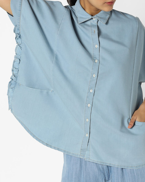 Denim Boxy Shirt By AJIO ( Lightblue )