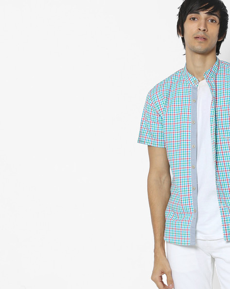 Checked Shirt With Mandarin Collar By VOI JEANS ( Multi )