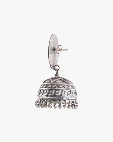 Oxidised Brass Jhumkas By Indie Picks ( Silver ) - 460164023001