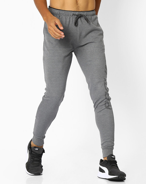 Mid-Rise Joggers With Drawstring Fastening By PROLINE ( Greymelange )