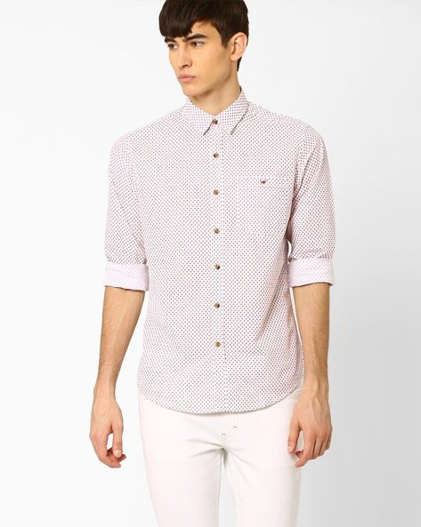 Printed Slim Fit Shirt With Patch Pocket By Wills Lifestyle ( Orange )