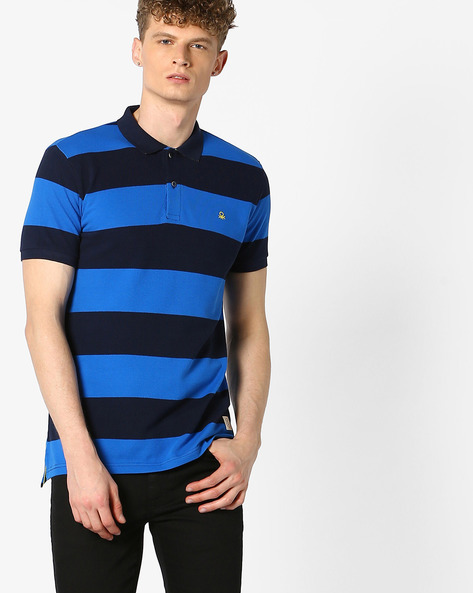 Striped Polo T-shirt By UNITED COLORS OF BENETTON ( Blue )