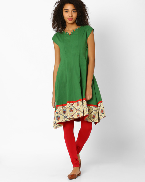 Kalidar Kurta With Asymmetrical Hemline By AJIO ( Green )