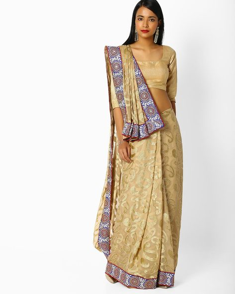Brasso Saree With Embroidered Border By Majestic Silk ( Beige )