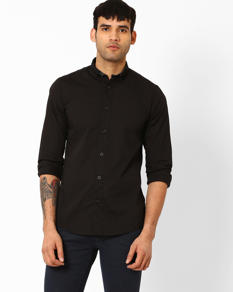 Slim Fit Cotton Shirt By Pepe Jeans ( Black )