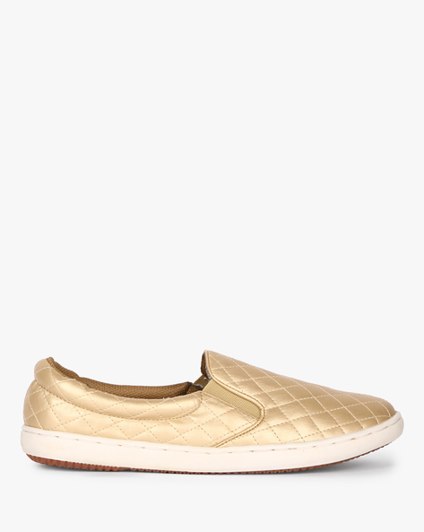 Quilted Slip-Ons With Contrast Sole By Carlton London ( Gold )