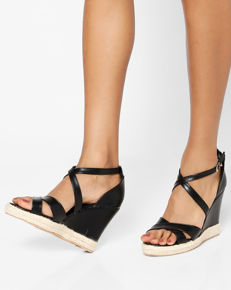 Wedges With Ankle Strap By MFT Couture ( Black )