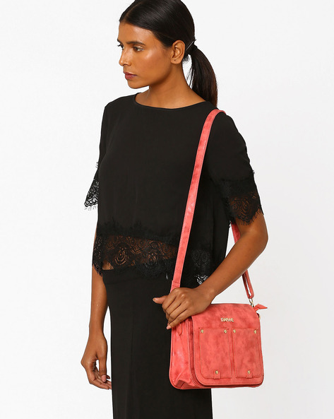 Sling Bag With Flap Closure By Daphne ( Wine )