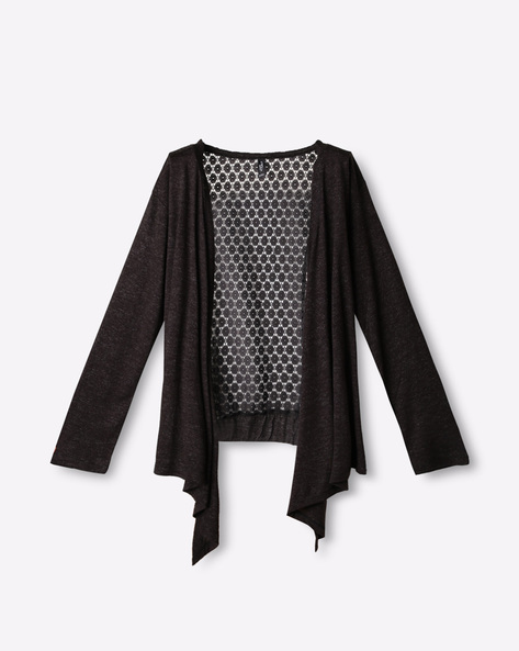 Open-Front Shrug With Drop Sleeves By RIO GIRLS ( Black )