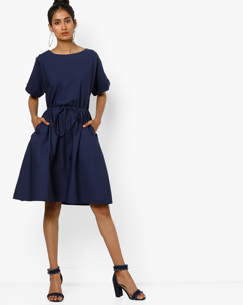 Knee-Length Dress With Tie-Up By Tokyo Talkies ( Blue )