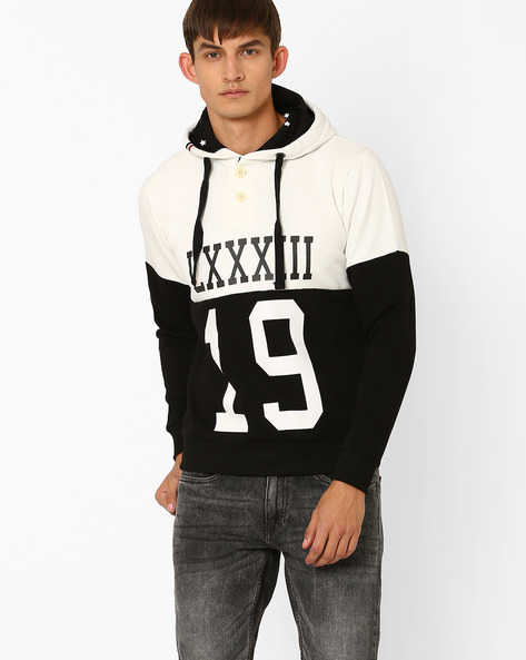 Regular Fit Sweatshirt With Cut & Sew Panel By PROLINE ( Black )