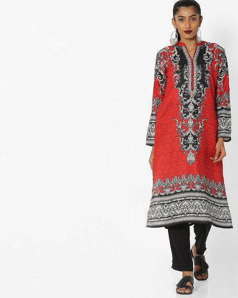 Printed Straight Kurta With Mandarin Collar By Shree ( Red ) - 460144473002