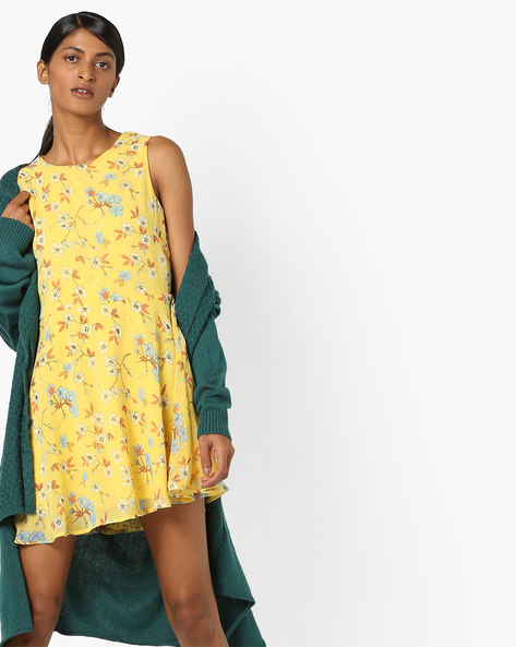 Floral Print Skater Dress With Back Cutout By RIO ( Yellow )