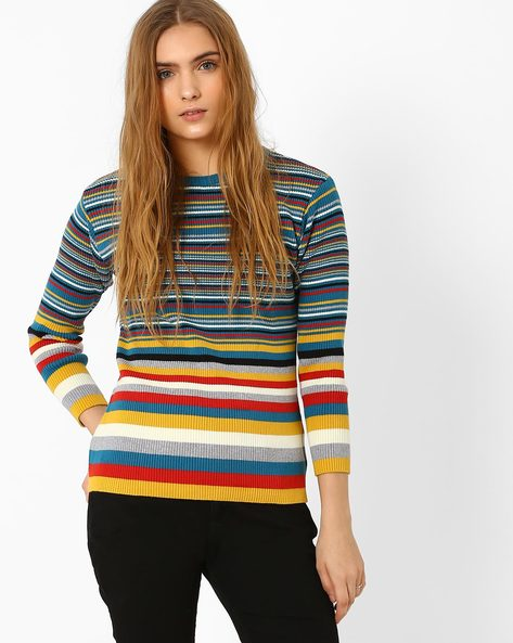 Ribbed Knit Striped Sweater By AJIO ( Red )