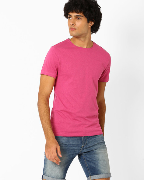 Crew-Neck Slim Fit T-shirt By Jack & Jones ( Pink )