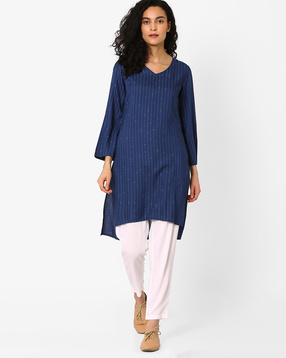 Striped High-Low Kurta