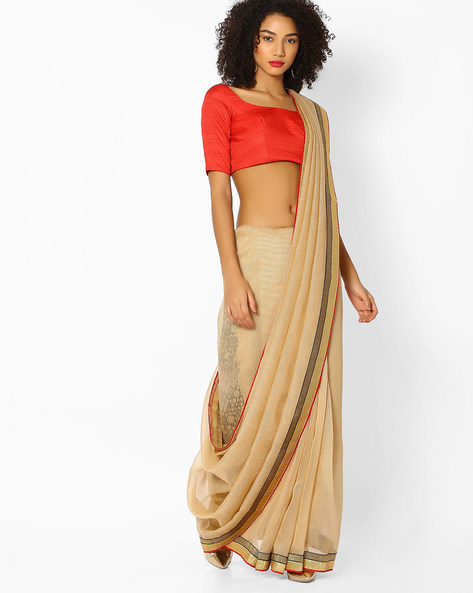 Textured Saree With Contrast Border By Vastrangi ( Beige )