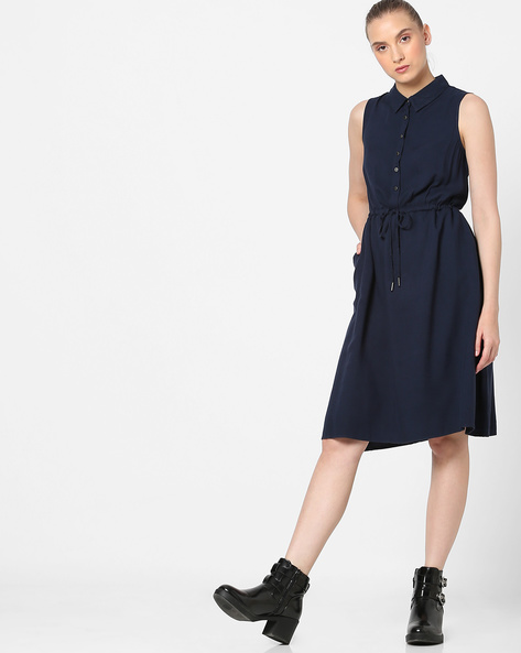 Sleeveless Shirt Dress With Tie-Up By Amari West ( Navy )