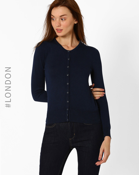 Button-Down Cardigan By Marks & Spencer ( Blue )