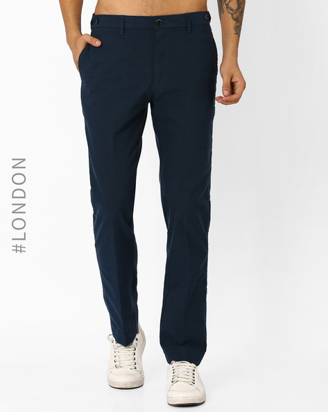 Brushed Cotton Chinos With Button Safe By Marks & Spencer ( Teal )