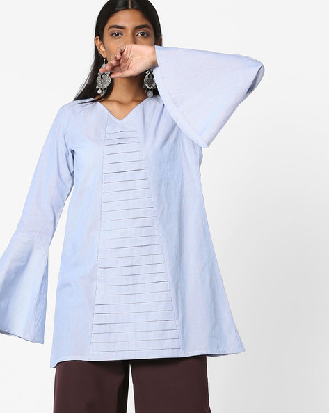Striped Tunic With Bell Sleeves By AJIO ( Blue )