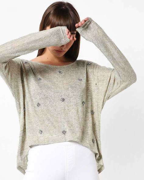 High-Low Embellished Boxy Top By Ginger By Lifestyle ( Olive )