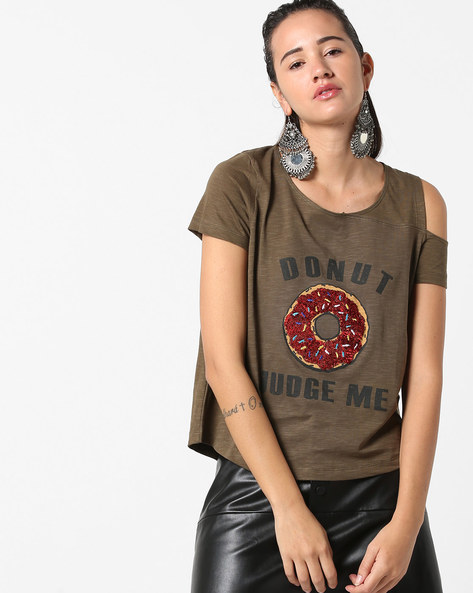 Embellished Top With Shoulder Cut-Out By Ginger By Lifestyle ( Olive )