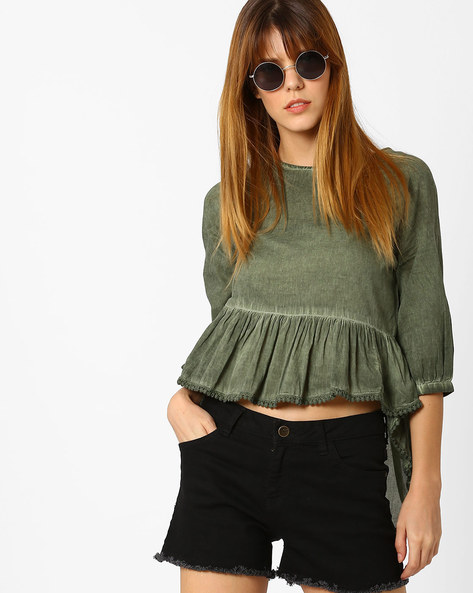 Peplum Top With High-Low Hem By AJIO ( Olive )