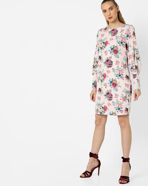 Floral Print Shift Dress By Femella ( Pink )