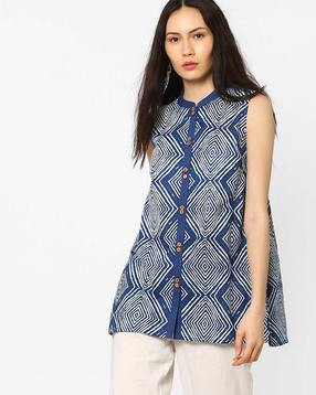 Abstract Print Flared Top