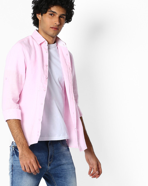 Pure Linen Shirt With Roll-Up Sleeves By Celio ( Pink )