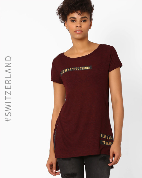 Printed High-Low T-shirt By TALLY WEiJL ( Wine )