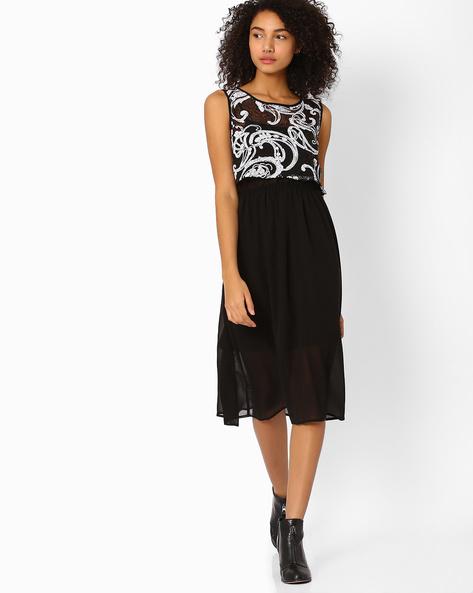 Embellished Two-Piece Dress By AJIO ( Black )