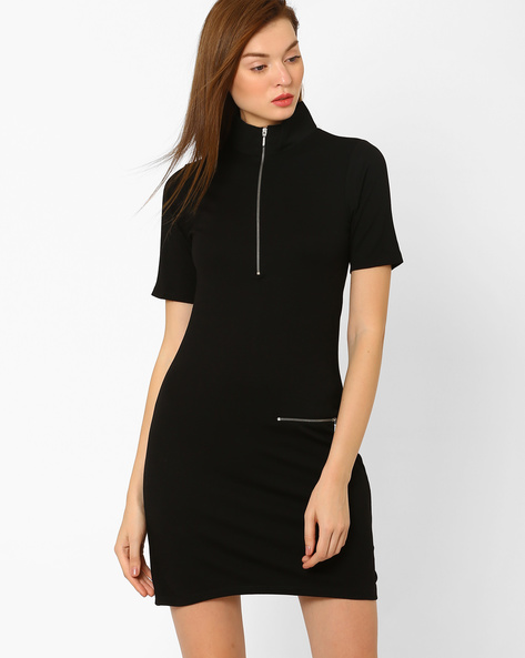 High-Neck Bodycon Dress By RIO ( Black )