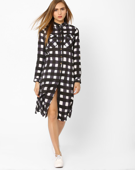 Soft Moss Checked Shirt Dress By AJIO ( Black )